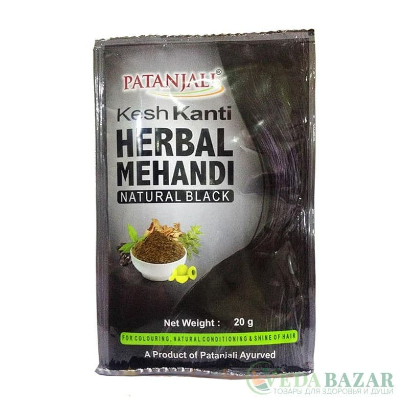 Хна для волос черная (Herbal Mehandi Kesh Kanti Natural Black), 20 гр, Патанджали (Patanjali) фото