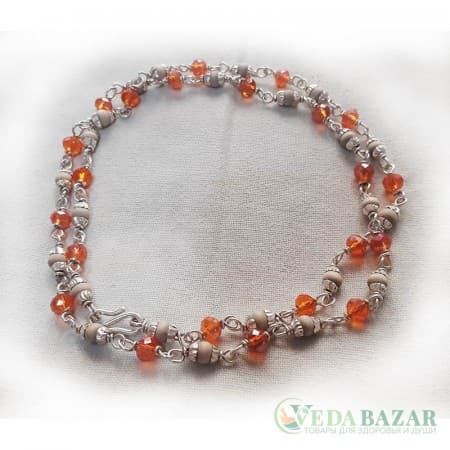 Кантхималы туласи + кристал оранжевый с серебром 1 ряд (Tulasi + Crystal Orange Silver), 4 мм, Индия фото