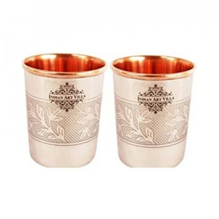 Стакан из медно-стального тисненного дизайна (Steel Copper Glass Tumbler, Embossed Design), 250 мл фото
