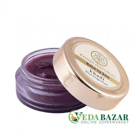 Винный бальзам для губ с грейпфрутом, пчелиным воском и медом (Wine Grapefruit Lip Balm), 5 гр, Кади Натурал (Khadi Natural)