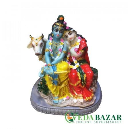 Сувенир Статуэтка Радха, Кришна и корова (souvenir figurine of Radha Krishna and cow), 15 см фото